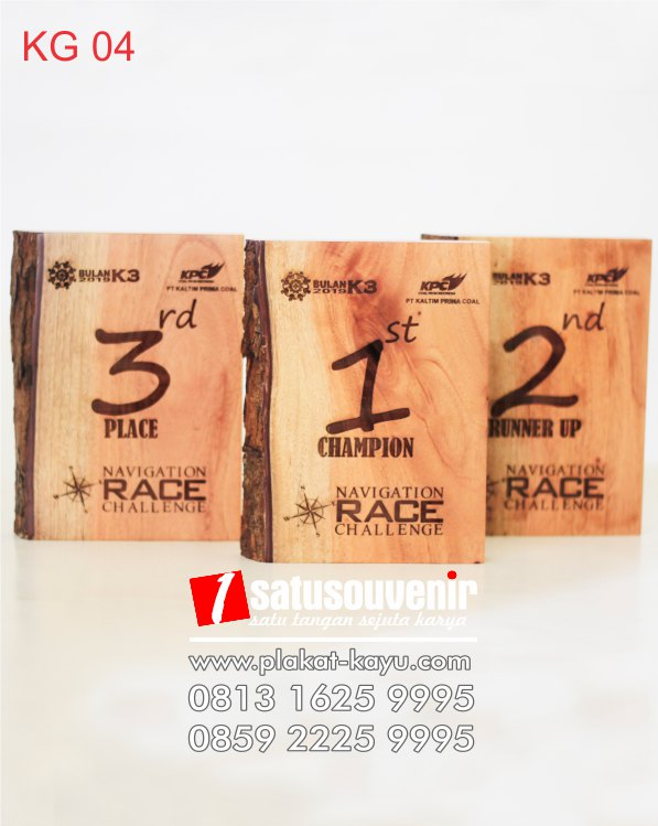 kerajinan kayu KG04 Plakat Kayu Grafir Trophy Navigation Race